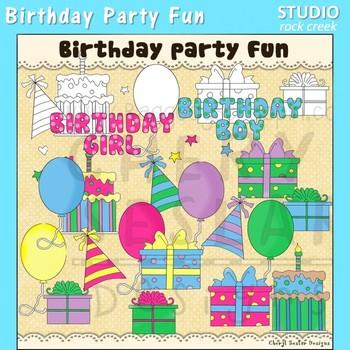 Birthday Party Fun Clip Art color and line art C Seslar