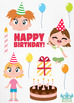 Birthday Party Girls 1 Clipart | Instant Download Vector Art | Commercial Use