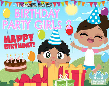 Birthday Party Girls 2 Clipart | Instant Download Vector Art | Commercial Use