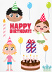 Birthday Party Girls 3 Clipart | Instant Download Vector Art | Commercial Use Cl