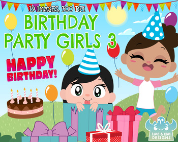 Birthday Party Clipart - Girls 3 (Lime and Kiwi Designs)