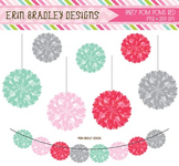 Birthday Party Graphics - Pom Pom Bunting Clipart