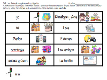Birthday Party IGA- Obligation- Tener que + infinitive (Realidades 1/B 5A)