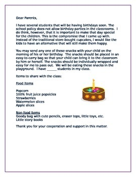 Birthday Party Letter to Parents Cupcake Alternative