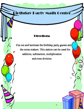 Birthday Party Math Center