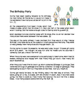 Birthday Party Math Story Problems CCSS Aligned Grades 2-4