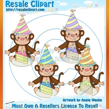 Birthday Party Monkeys 1 ClipArt - Commercial Use