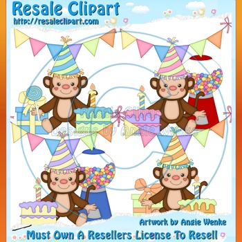 Birthday Party Monkeys 2 ClipArt - Commercial Use