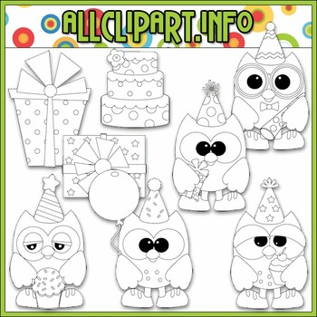 BUNDLED SET - Birthday Party Owls Clip Art & Digital Stamp Bundle