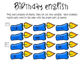 Birthday Party Parts of Speech Sort
