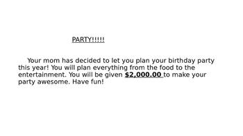 Birthday Party Performance Task