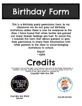 Birthday Party Permission Form