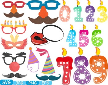 Birthday Party Photo Booth Props Candles Numbers clip art Happy party svg -271s