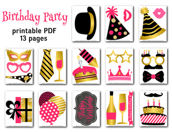 Birthday Party Photo Booth Props Happy Birthday Printable Birthday Party