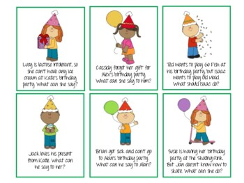 Birthday Party Pragmatics/Social Skills Flash Cards