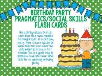 Birthday Party Pragmatics/Social Skills Flash Cards