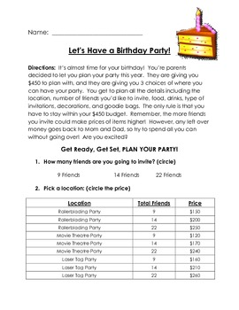 Birthday Party Subtraction