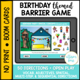 Birthday Party Themed Barrier Game BOOM Cards™️ Speech Therapy