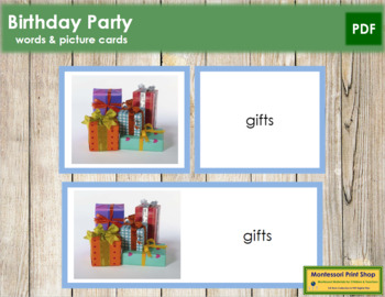 Birthday Party: Words and Picture Cards