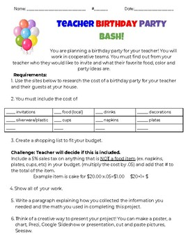 Birthday Party (planning project)
