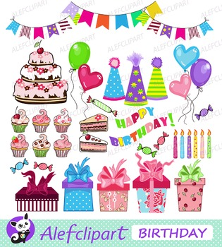 Birthday Party.Digital Clipart. Instant Download.Creative Clips