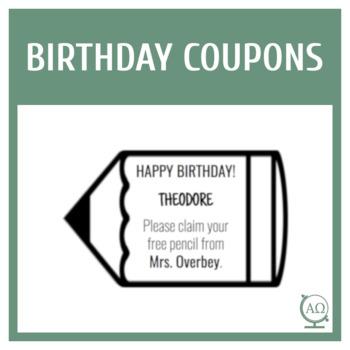 Editable Birthday Pencil Coupons