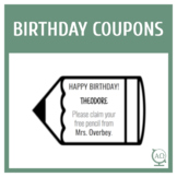 Editable Birthday Pencil Coupons