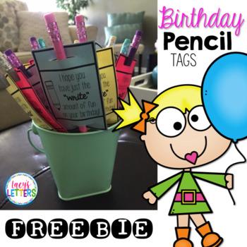 Birthday Pencil Tags FREEBIE