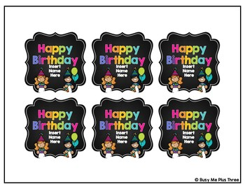 Birthday Pencil Topper Tags Student Birthday Gift EDITABLE