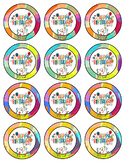 Birthday Pencil Toppers, Badges, Tags  - Confetti Theme
