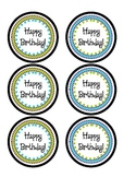 Birthday Pencil Toppers- Blue and Green