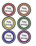 Birthday Pencil Toppers- Primary Colors