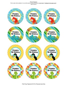 Birthday Pencil Toppers Rain Forest Animal Theme