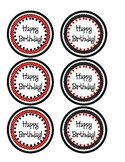 Birthday Pencil Toppers- Red and Black