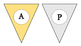 Birthday Pennant-Blue, Yellow, and Gray Chevron