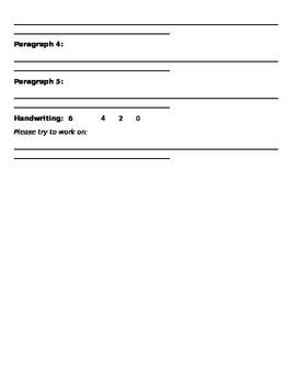 Birthday Personal Narrative Teacher Assessment Rubric
