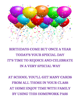 Birthday Poem & Homework Pass