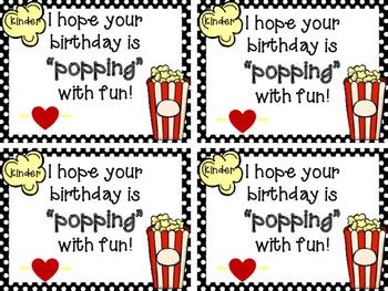 Birthday Popcorn Tags