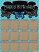 Birthday Poster (Butterfly, Blue, Black & Burlap Theme)