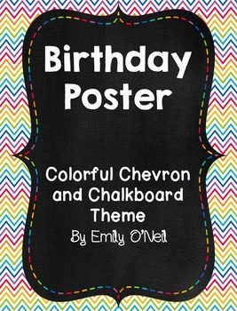 Birthday Poster (Colorful Chevron & Chalkboard Theme)