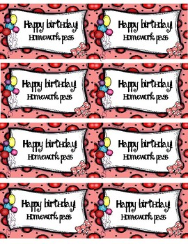 Birthday Poster, Note Cards, and Homework Passes Mini-Bundle (three colors)