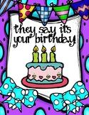 Birthday Poster, Note Cards, and Homework Passes Mini-Bund