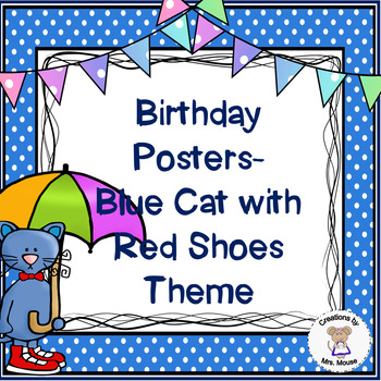 Birthday Banners/Posters -  Blue Cats with Red Shoes Theme