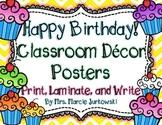 Birthday Posters Back to School Classroom Decor Chevron and Cupcake Theme
