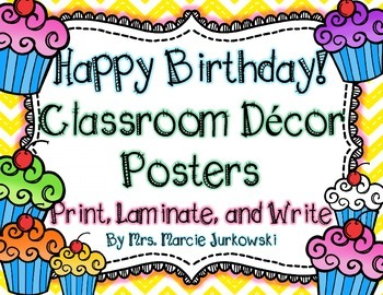 Birthday Posters Back to School Classroom Decor Chevron and Cupcake Theme
