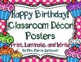 Birthday Posters Back to School Classroom Decor Polka Dot and Cupcake Theme