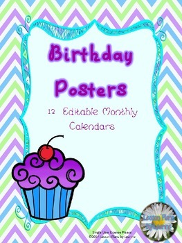 Birthday Posters *Editable*  Back To School