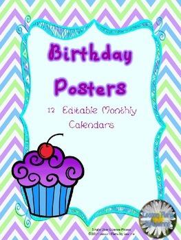 Birthday Posters *Editable*  Back To School