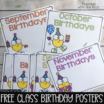 free downloads monthly birthday posters for the classroom tpt
