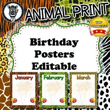 Birthday Posters - ZisforZebra - Animal Print - Editable